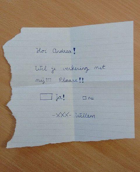 Verkering briefje vragen basisschool