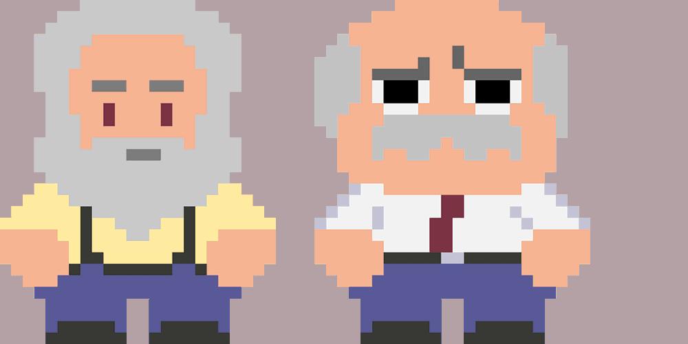 Oudere generatie verloren ouderen pixels