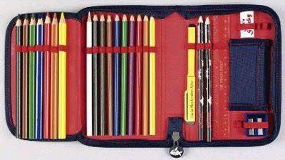 Pennendoos etui pennen potloden tekenen stiften vroeger