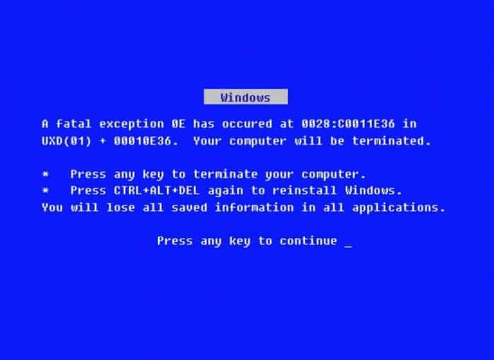 Windows 95 foutscherm vroeger
