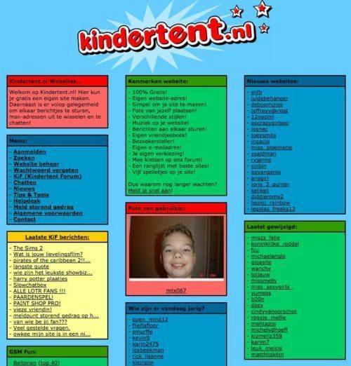Websites van vroeger kindertent