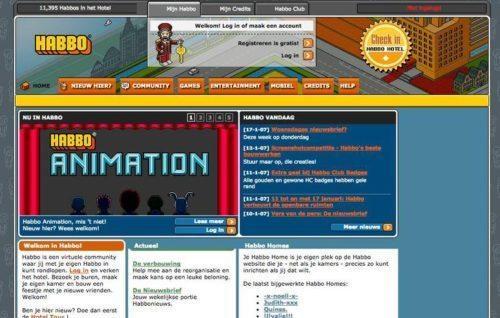 Websites van vroeger habbo