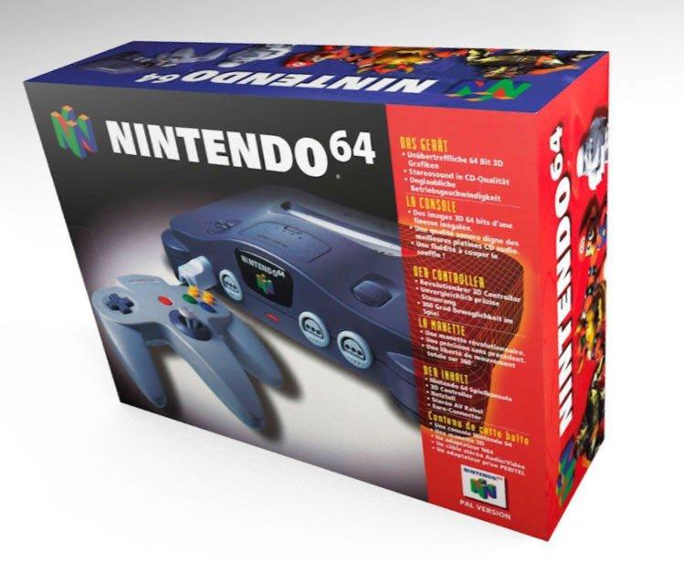Nintendo 64 spelcomputer doos