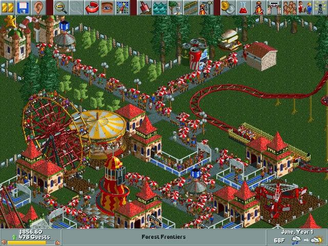 Rollercoaster tycoon regen paraplu spel