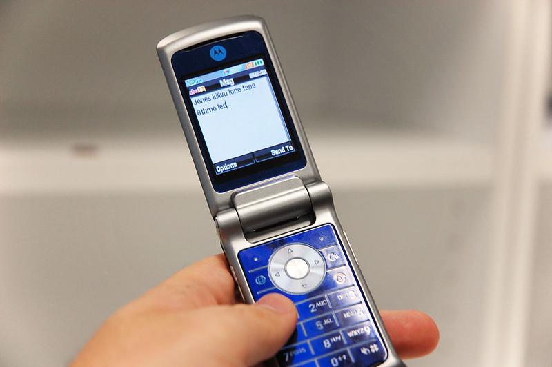 Mobiele telefoon SMS vroeger 90s
