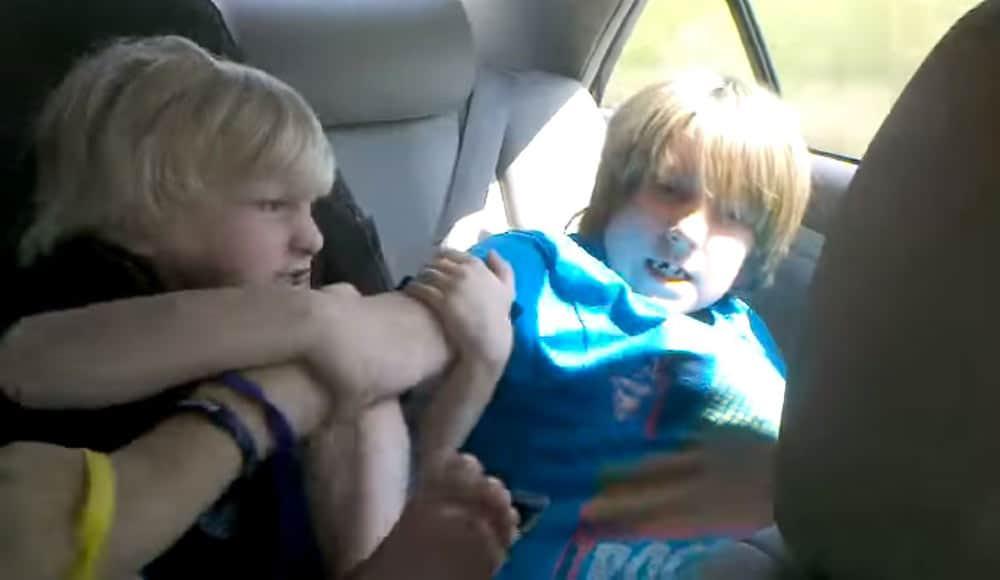 Kinderen vechten auto autovakantie