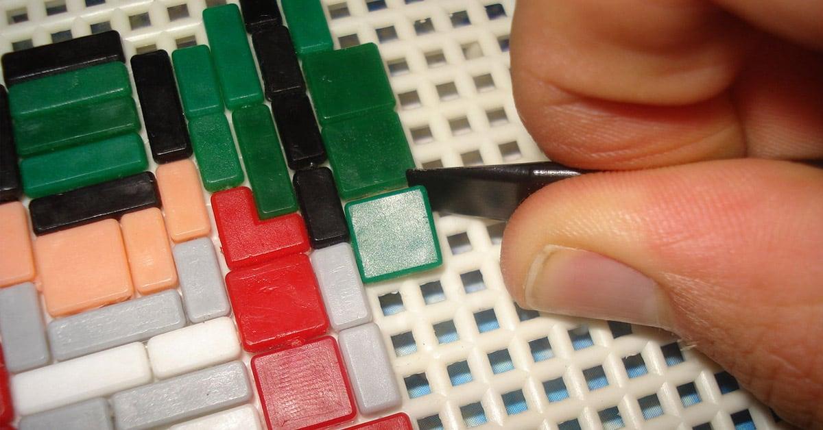 Ministeck steentjes zetten speelgoed vroeger
