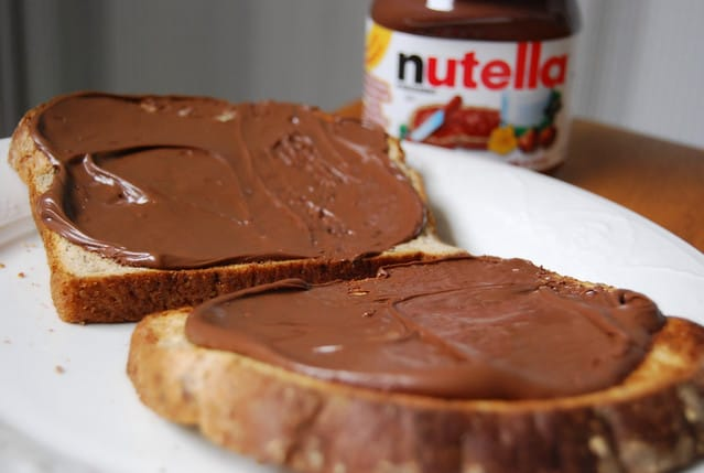 Nutella brood vroeger school