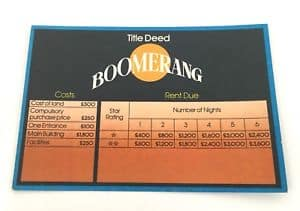 Hotel kaart boomerang bordspel vroeger