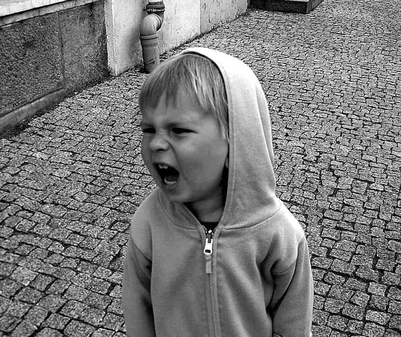 Kind boos schreeuwen kwaad