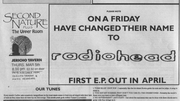 Radiohead On a Friday bandnamen