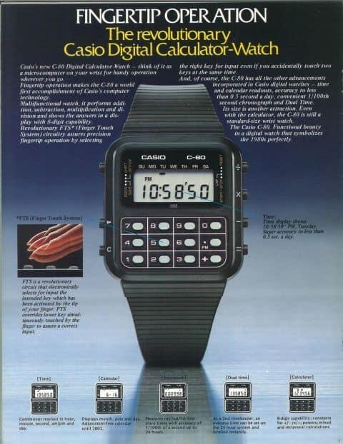 Casio horloge rekenmachine jaren 80